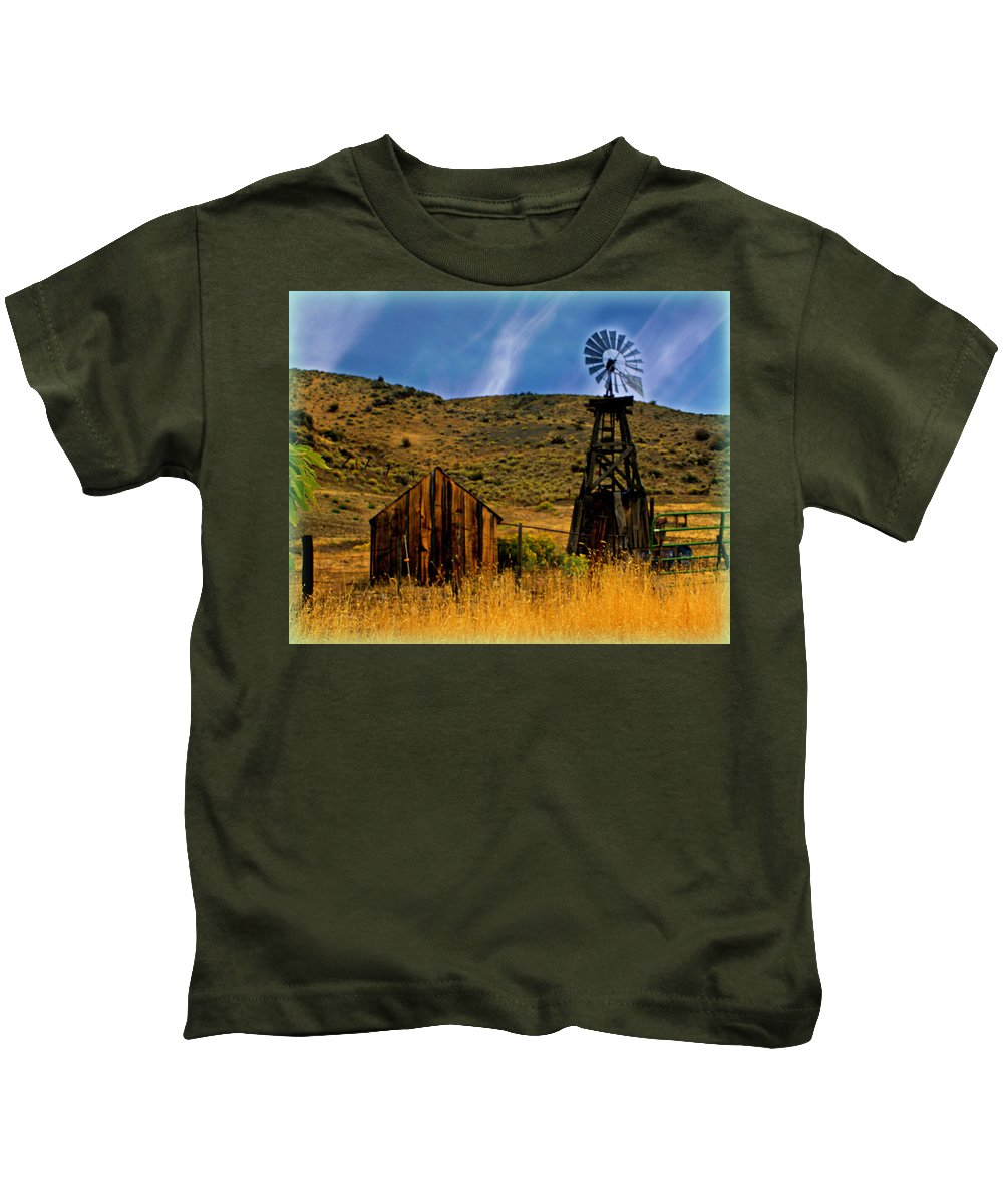 Windmill Kids T-Shirt featuring the photograph Rustic Windmill by Marty Koch