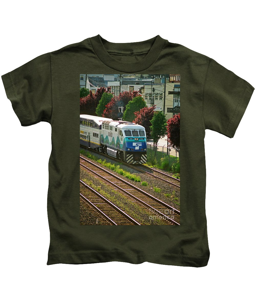 Trains Kids T-Shirt featuring the photograph Seattle Sounder Train by Randy Harris