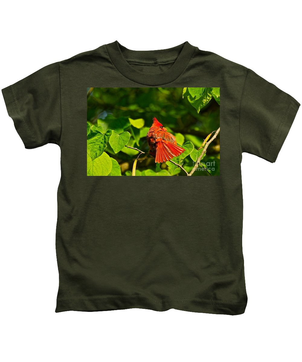 Cardinal In Tree Kids T-Shirt featuring the photograph Seeya Later by Byron Varvarigos