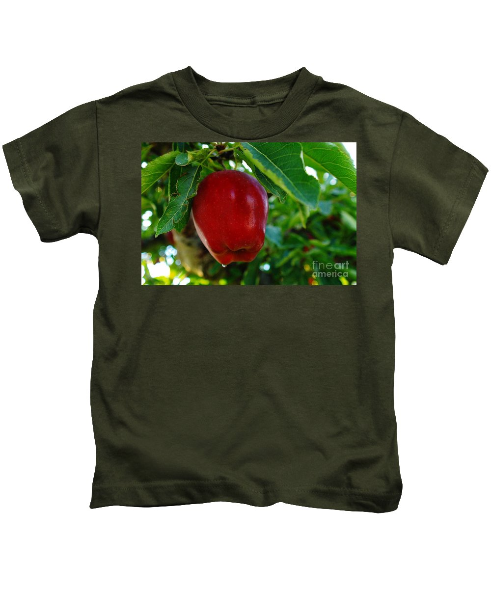 Fruit Kids T-Shirt featuring the photograph Shiny Red And Ripe by Jeff Swan
