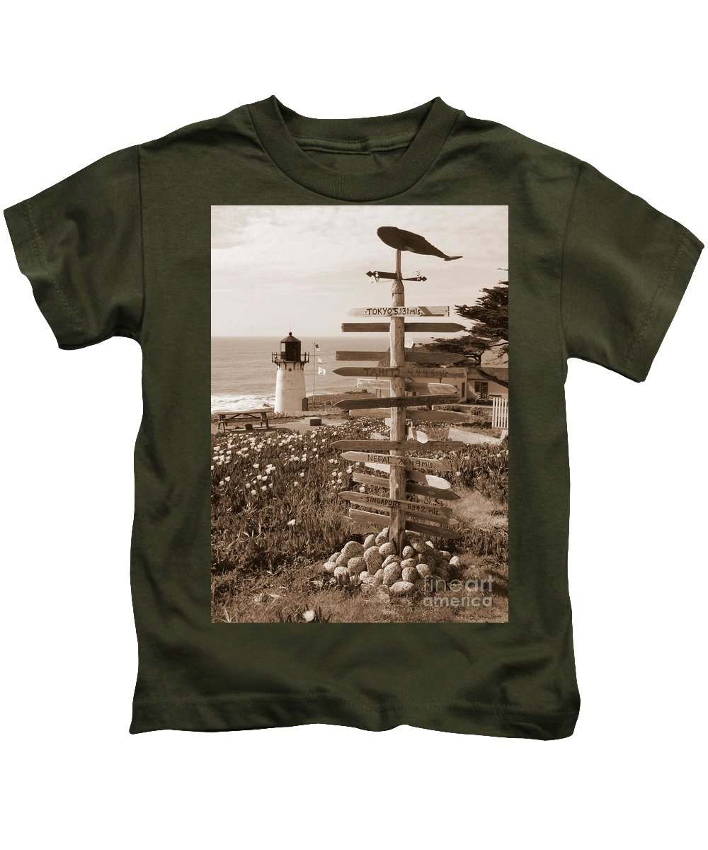 Point Montara Kids T-Shirt featuring the photograph Sign At Point Montara Lighthouse - Sepia by Carol Groenen