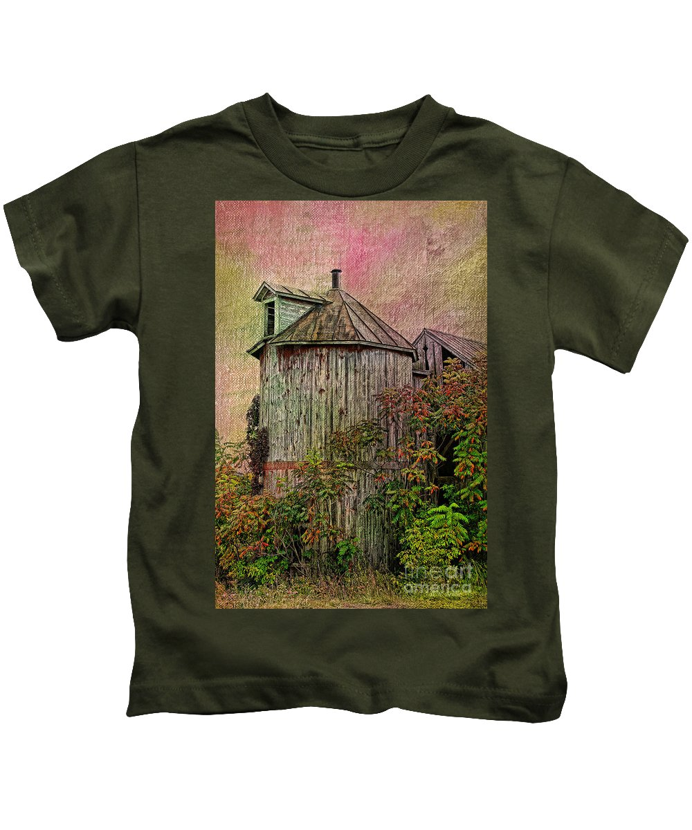 Old Silo Kids T-Shirt featuring the photograph Silo In Overgrowth by Deborah Benoit