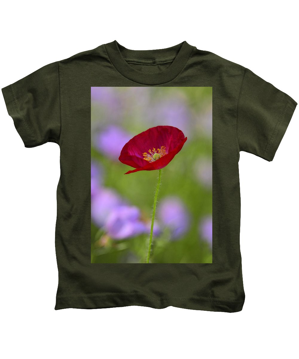 Red Poppy Kids T-Shirt featuring the photograph Single Red Poppy by Saija Lehtonen