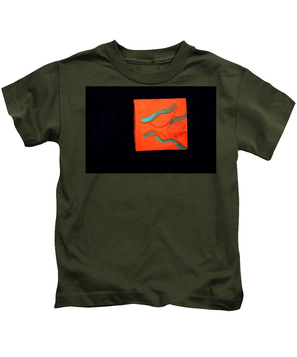 Jesus Kids T-Shirt featuring the ceramic art Sleeps Descent 1 by Gloria Ssali