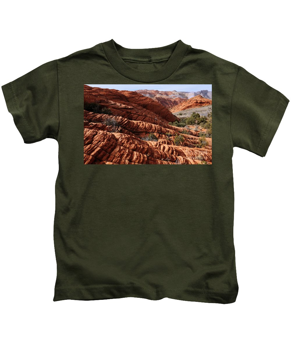 Snow Canyon Kids T-Shirt featuring the photograph Snow Canyon 2 by Vivian Christopher