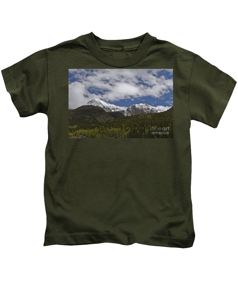 Silverton Kids T-Shirt featuring the photograph Snow Capped San Juans by Tim Mulina
