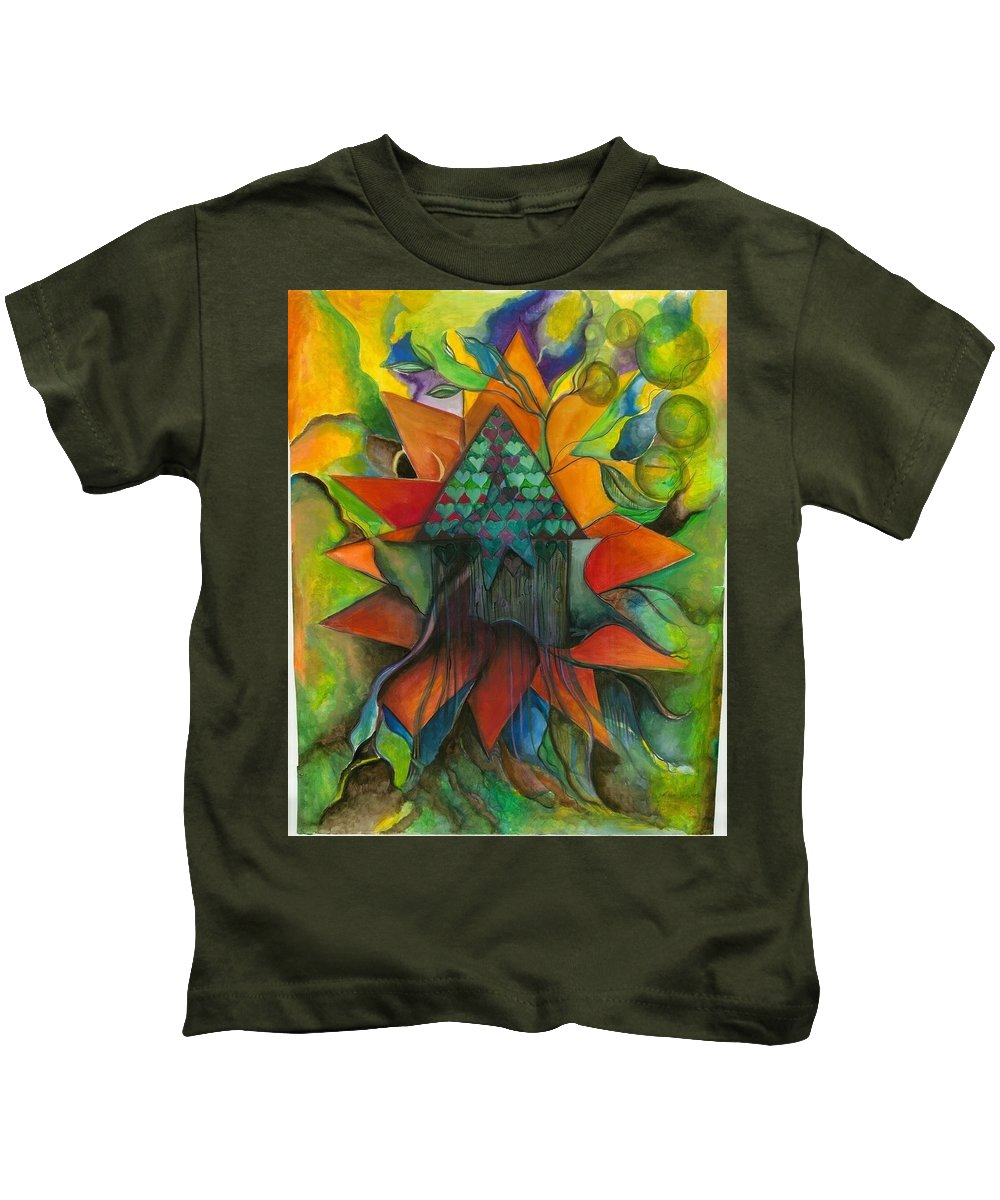 Watercolor Kids T-Shirt featuring the painting Stars House One by Jill Hungerford
