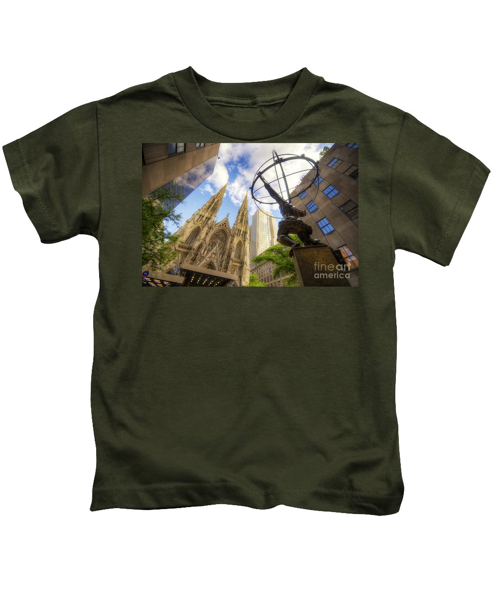 Art Kids T-Shirt featuring the photograph Statue And Spires by Yhun Suarez