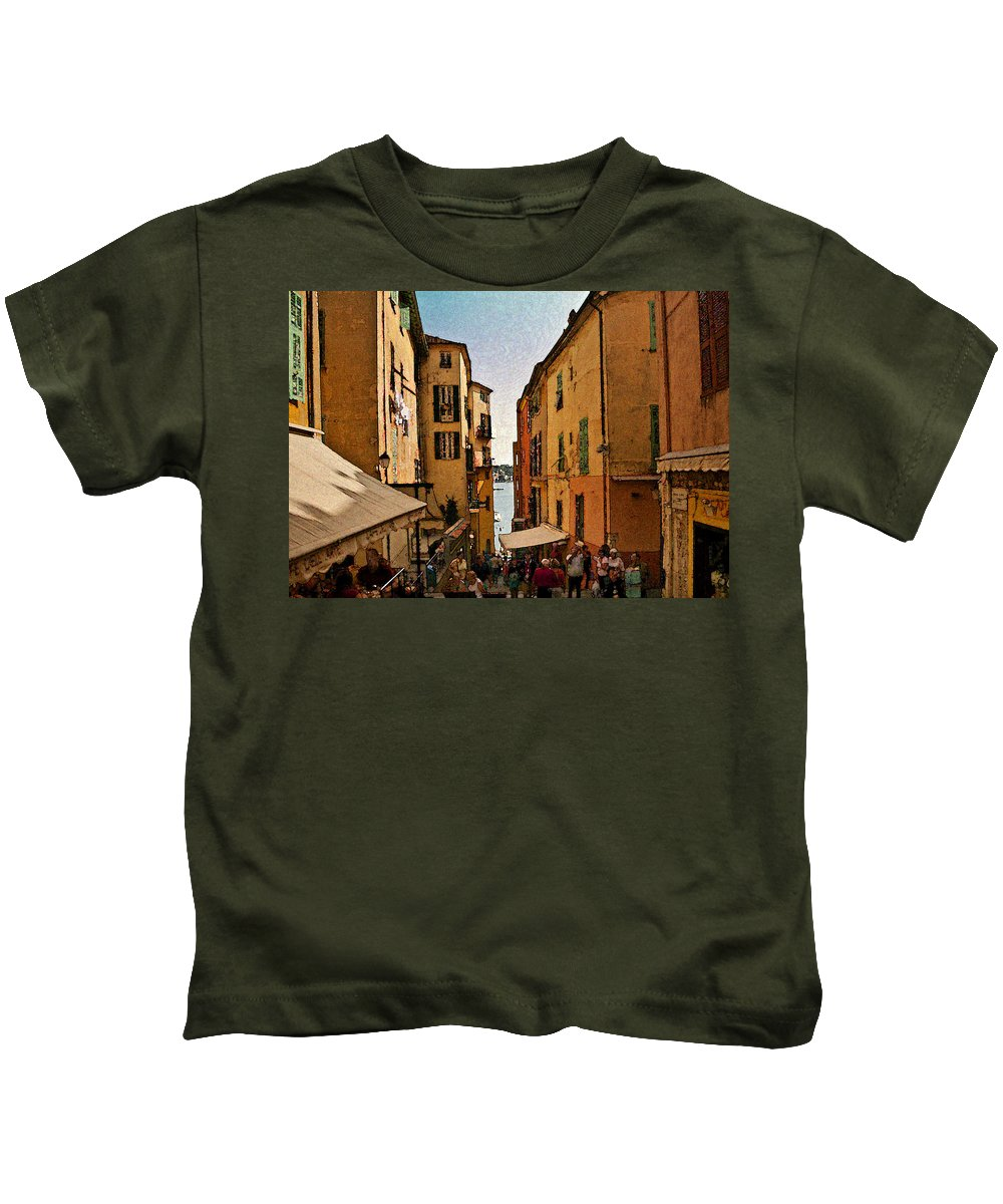 Villefranche Kids T-Shirt featuring the photograph Street In Villefranche II by Steven Sparks