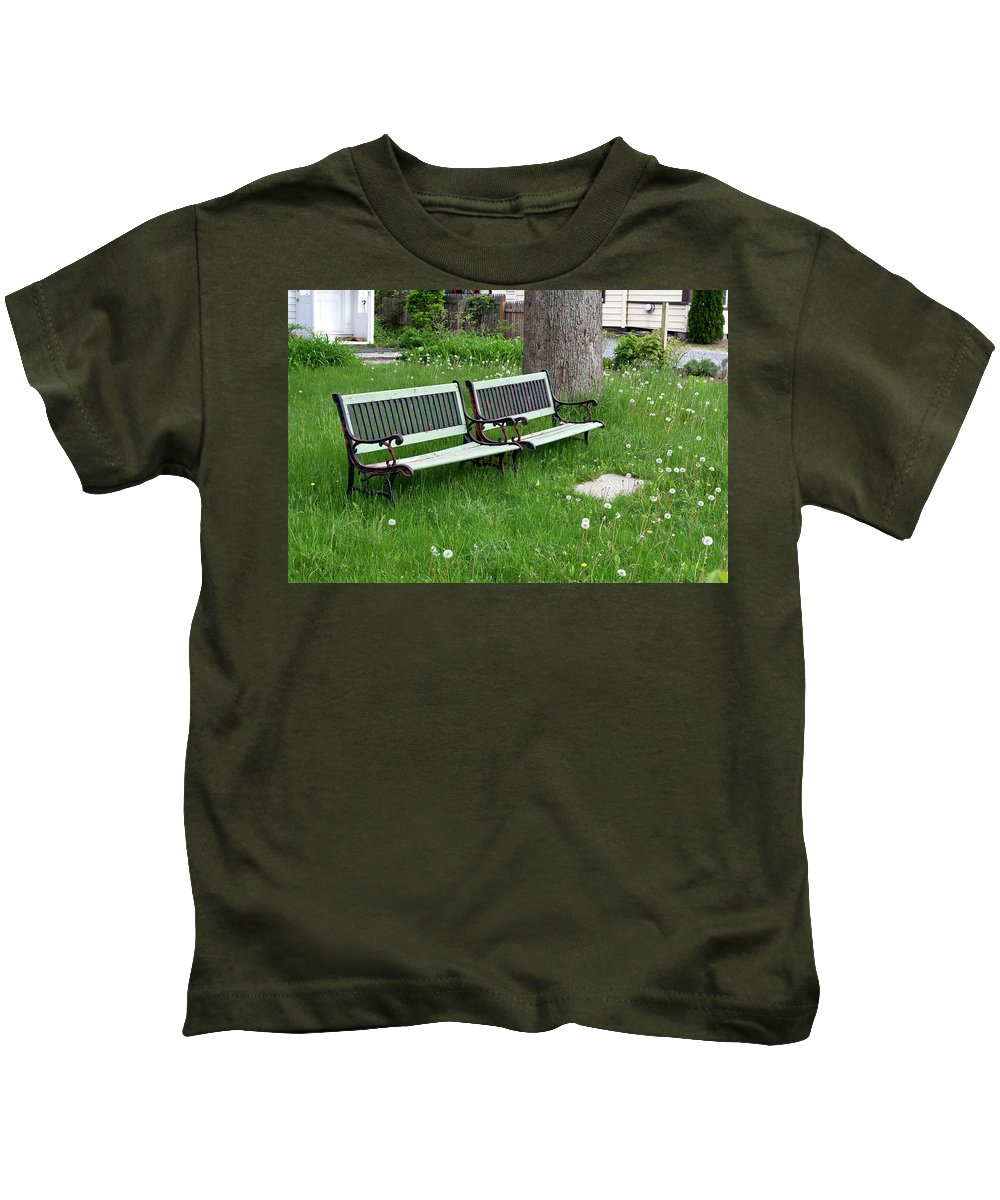 Benches Kids T-Shirt featuring the photograph Summer Bench And Dandelions by Lorraine Devon Wilke