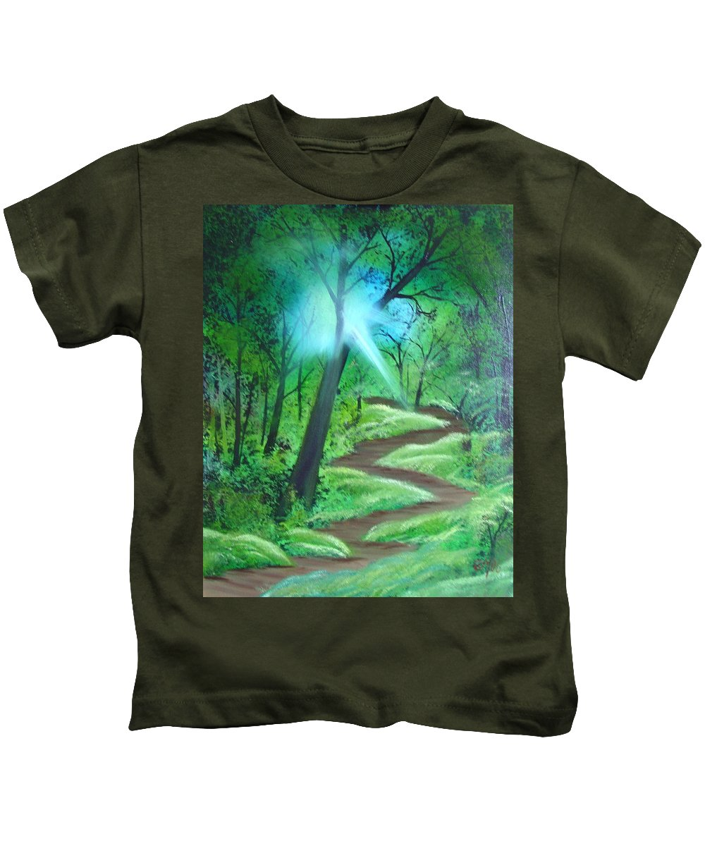 Painting Kids T-Shirt featuring the painting Sunlight In The Forest by Charles and Melisa Morrison
