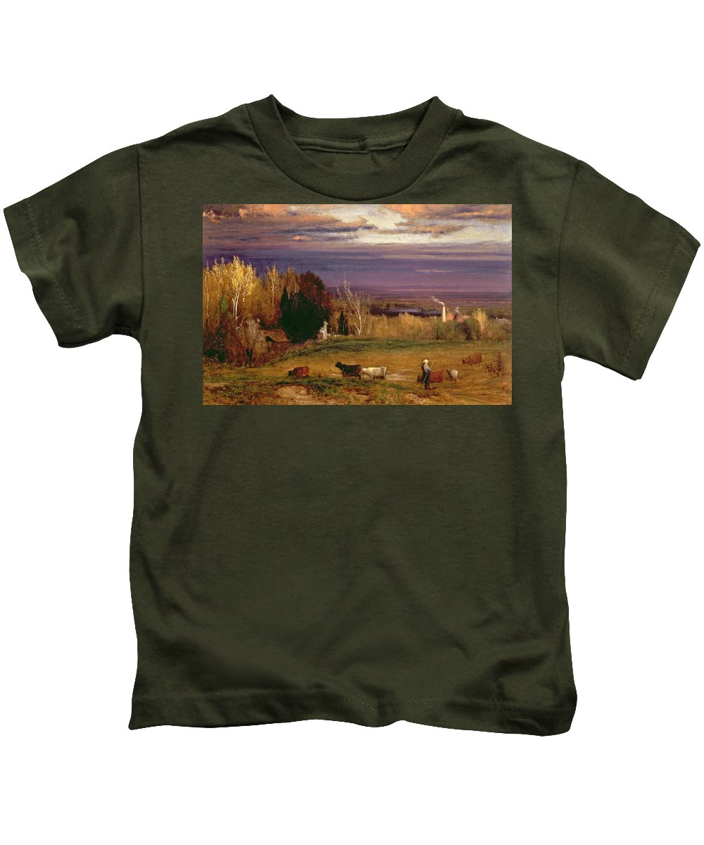 Sunshine After Storm Or Sunset Kids T-Shirt featuring the painting Sunshine After Storm Or Sunset by George Snr Inness