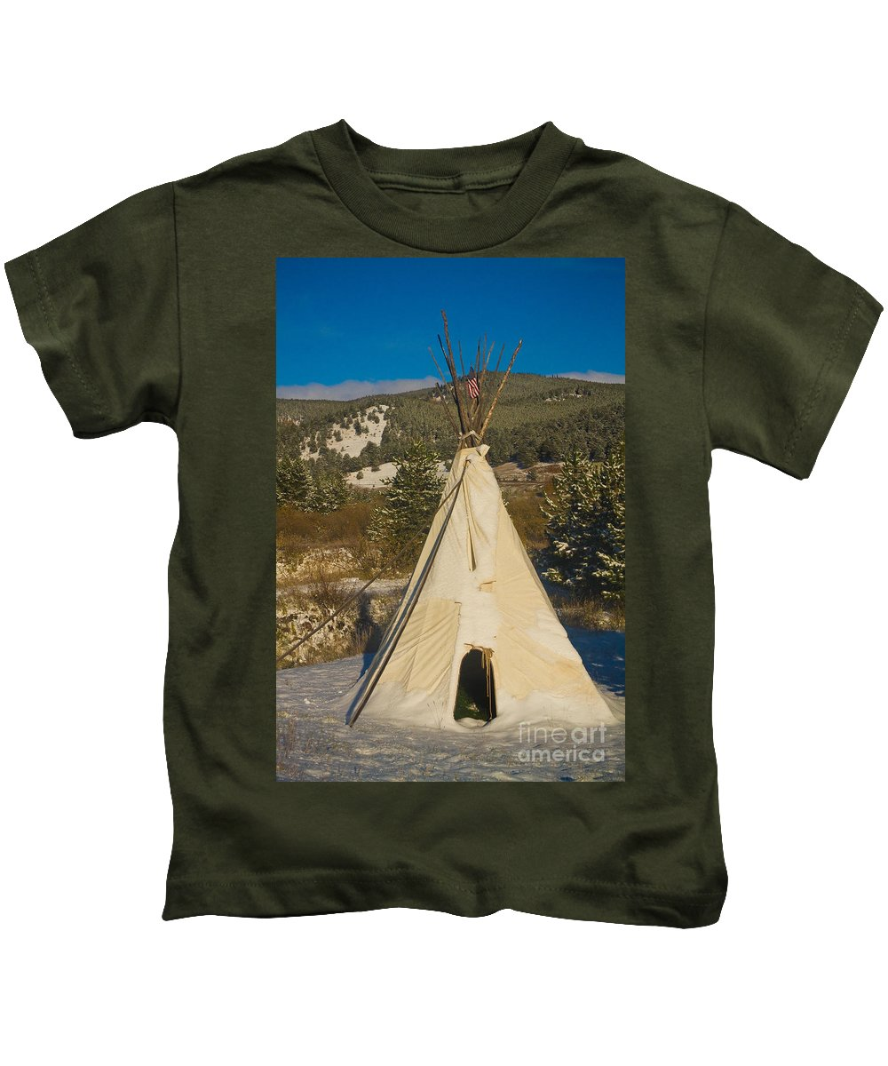 Snow Kids T-Shirt featuring the photograph Teepee In The Snow 2 by James BO Insogna