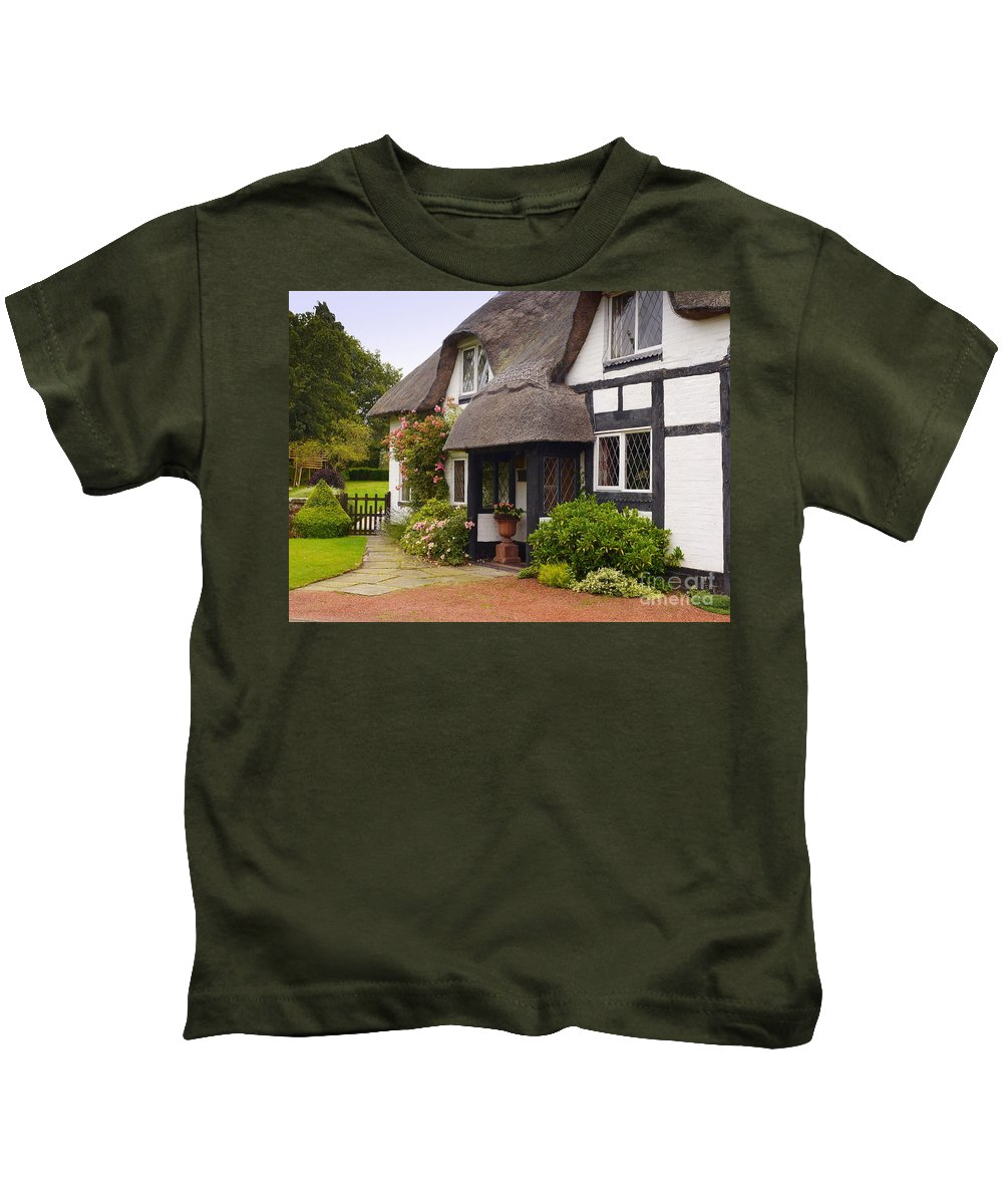Thatched Cottage Kids T-Shirt featuring the photograph Thatched Cottage by John Chatterley