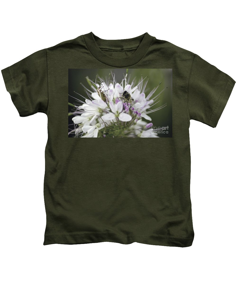 Bees Kids T-Shirt featuring the photograph The Beetle And The Bee by Donna Greene