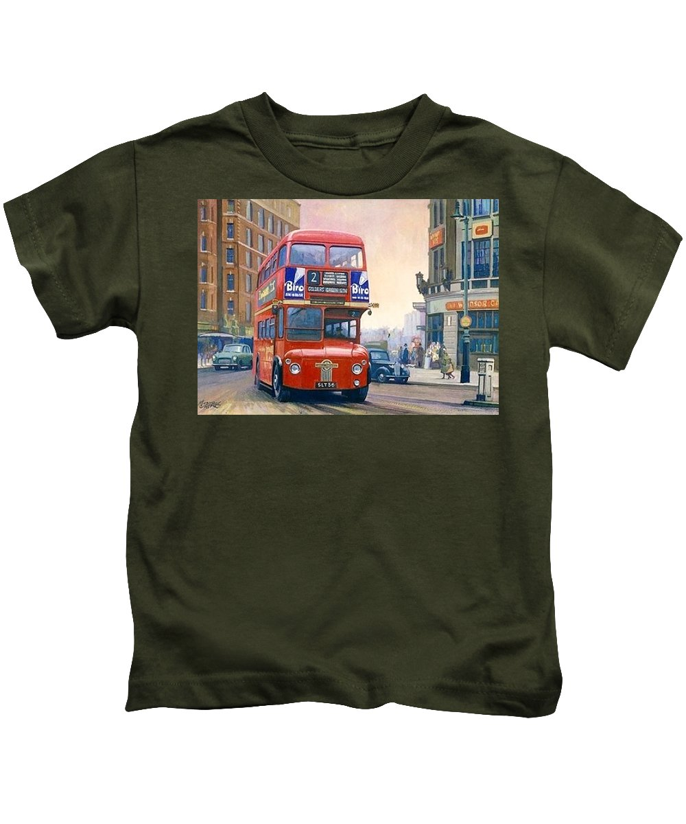 Rm1 Kids T-Shirt featuring the painting The First Routemaster. by Mike Jeffries