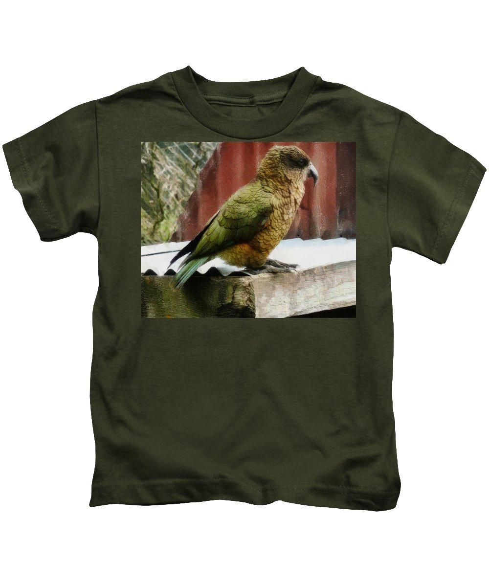 Kea Kids T-Shirt featuring the photograph The Intelligent Kea by Steve Taylor