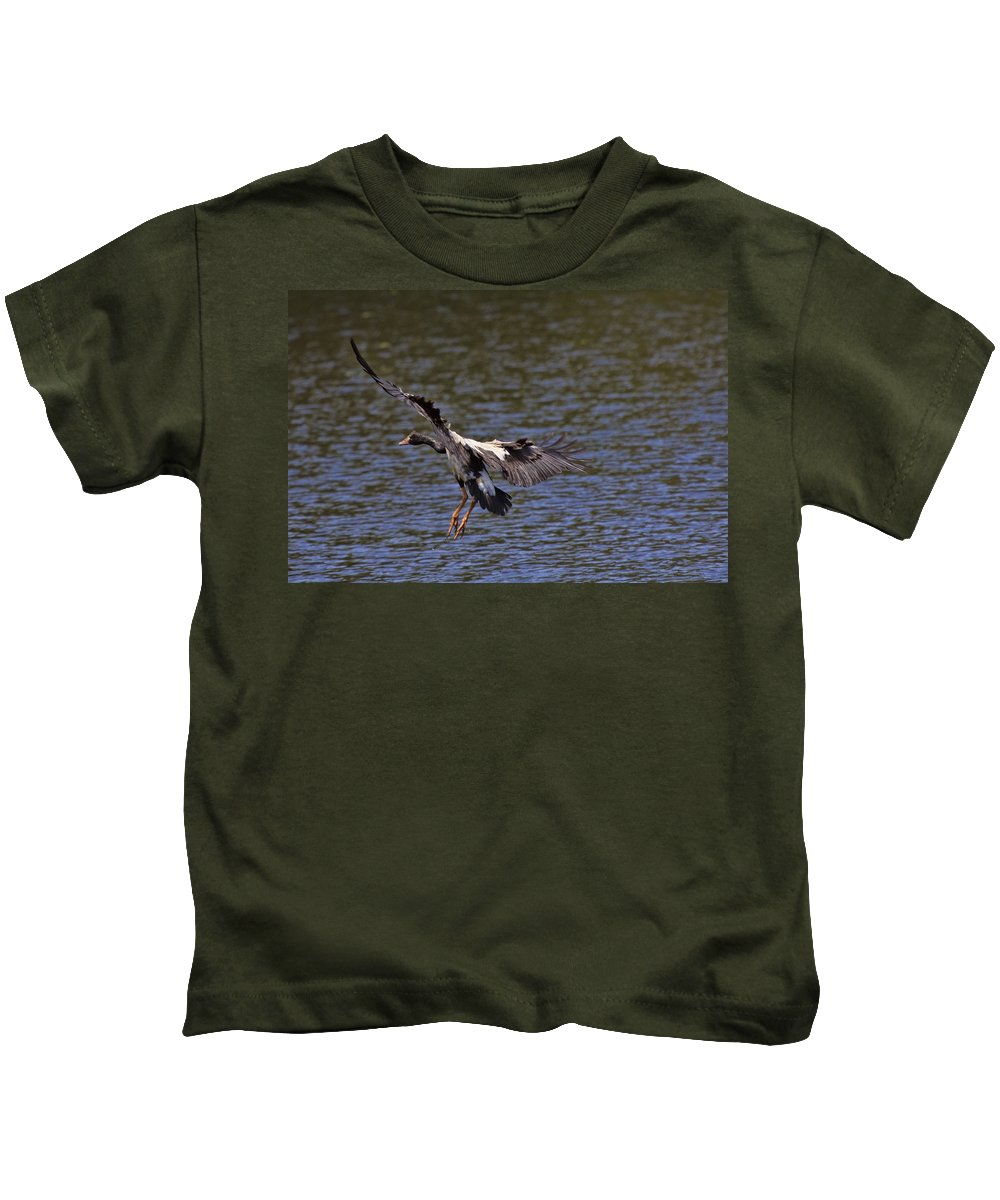 Magpie Goose Kids T-Shirt featuring the photograph The Landing V2 by Douglas Barnard