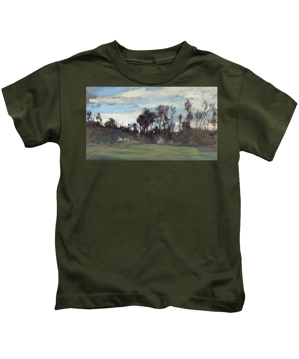 Le Pre Borde Darbres; Landscape; Grass; Houses; Countryside; Tree; Trees; Monet; Claude Monet Kids T-Shirt featuring the painting The Meadow Lined With Trees by Claude Monet