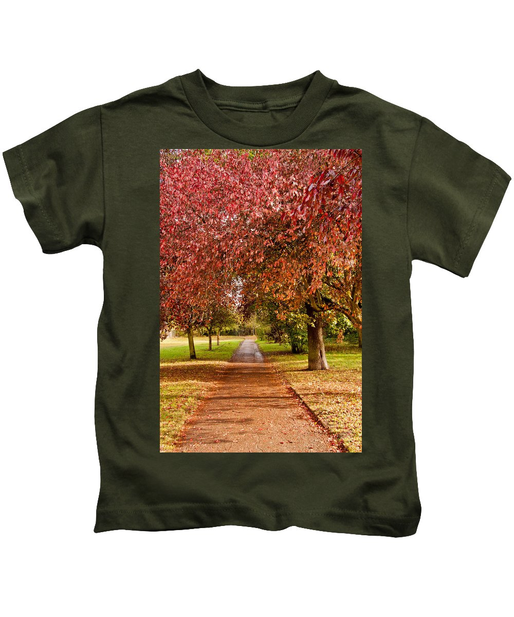 Autumn Kids T-Shirt featuring the photograph The Red Path by Dawn OConnor