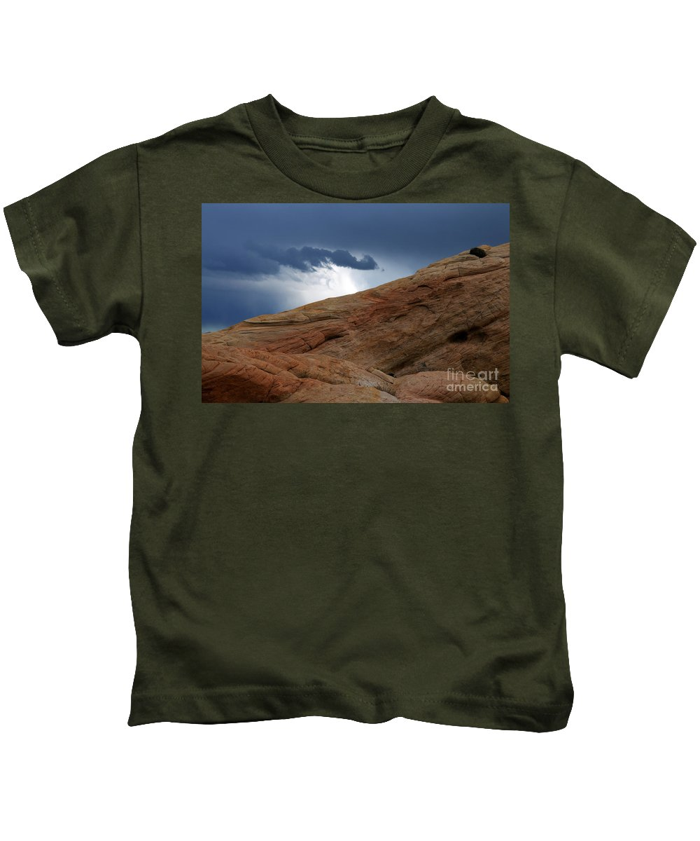 Valley Of Fire Kids T-Shirt featuring the photograph The Storm by Vivian Christopher