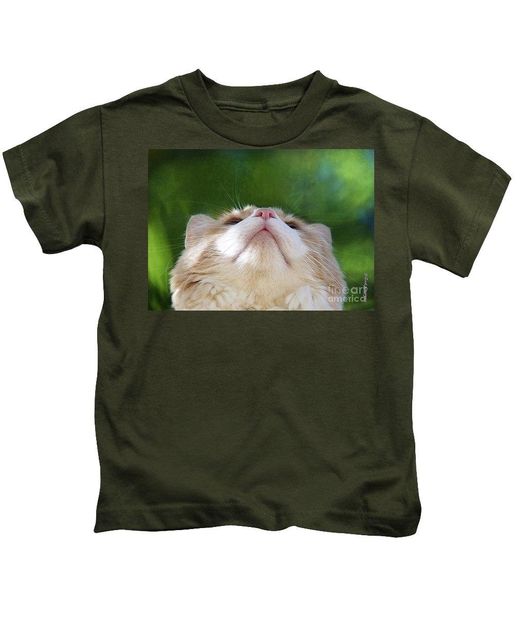 Cat Kids T-Shirt featuring the photograph The World At My Feet by Ellen Cotton