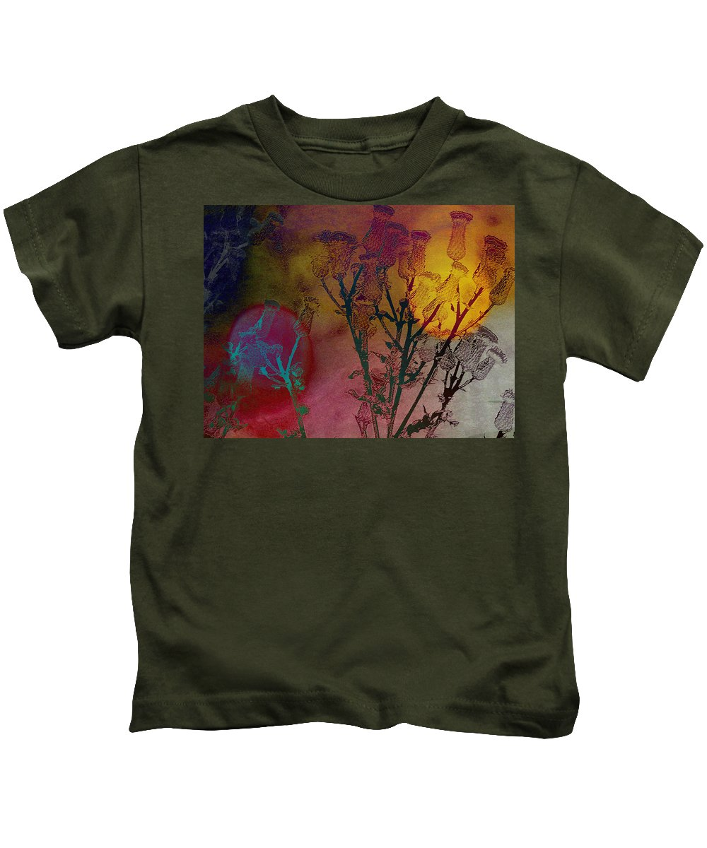 Abstract Kids T-Shirt featuring the photograph Thistle Lanterns by Lenore Senior
