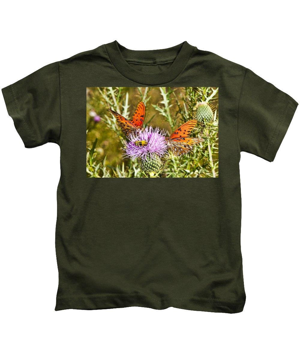 Butterflies Kids T-Shirt featuring the photograph Thistlefly by Sheri Bartoszek