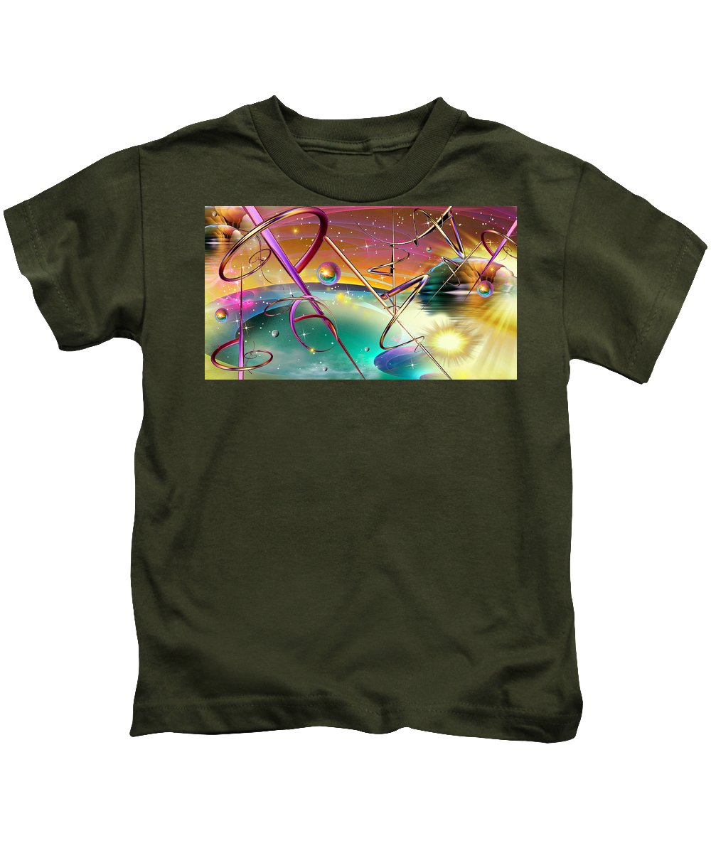 Phil Sadler Fractal Sci--fi Threads Kids T-Shirt featuring the digital art Thoughts And Threads by Phil Sadler