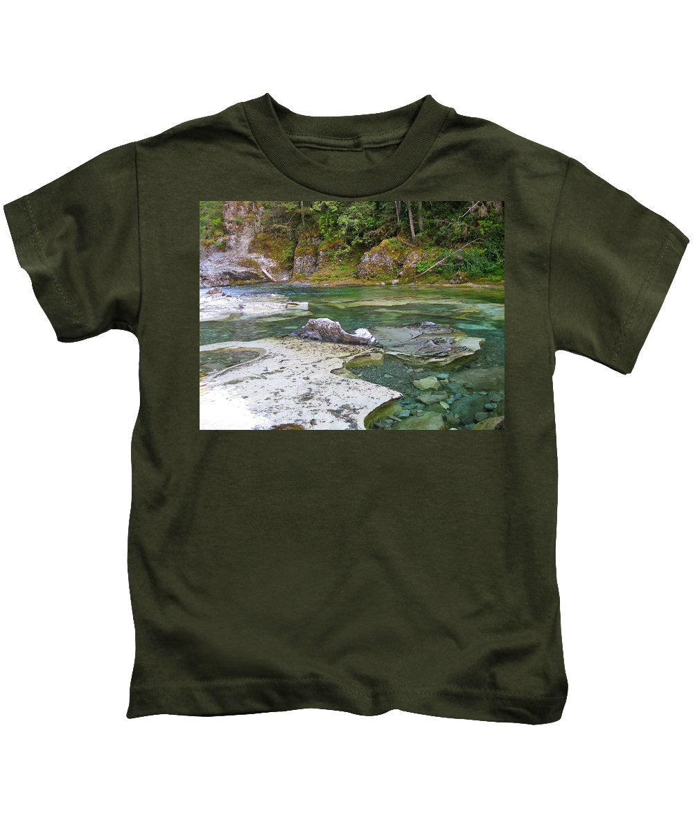 Swimming Hole Kids T-Shirt featuring the photograph Three Pools 2 by Linda Hutchins