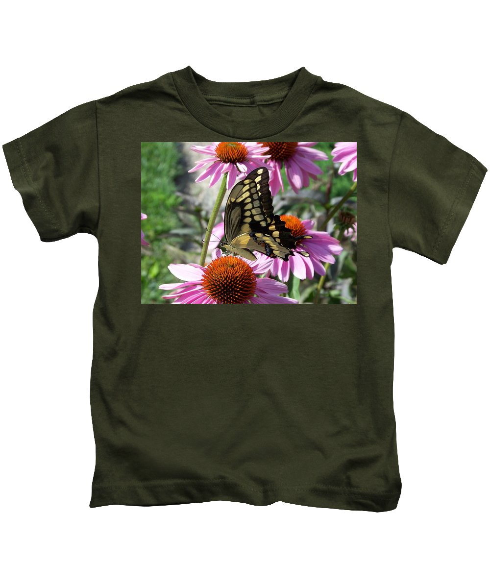 Butterfly Kids T-Shirt featuring the photograph Tiger Swallowtail by Linda Francis