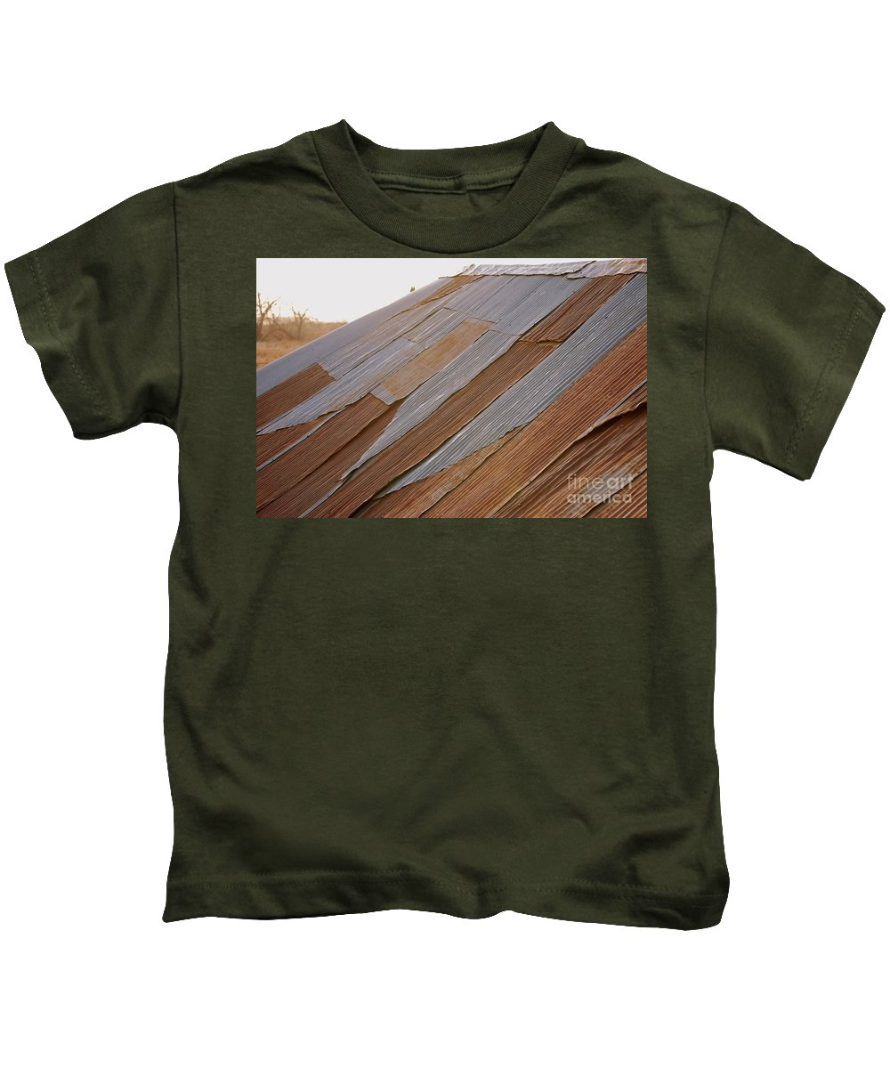 Tin Kids T-Shirt featuring the photograph Rusted Patchwork by Anjanette Douglas