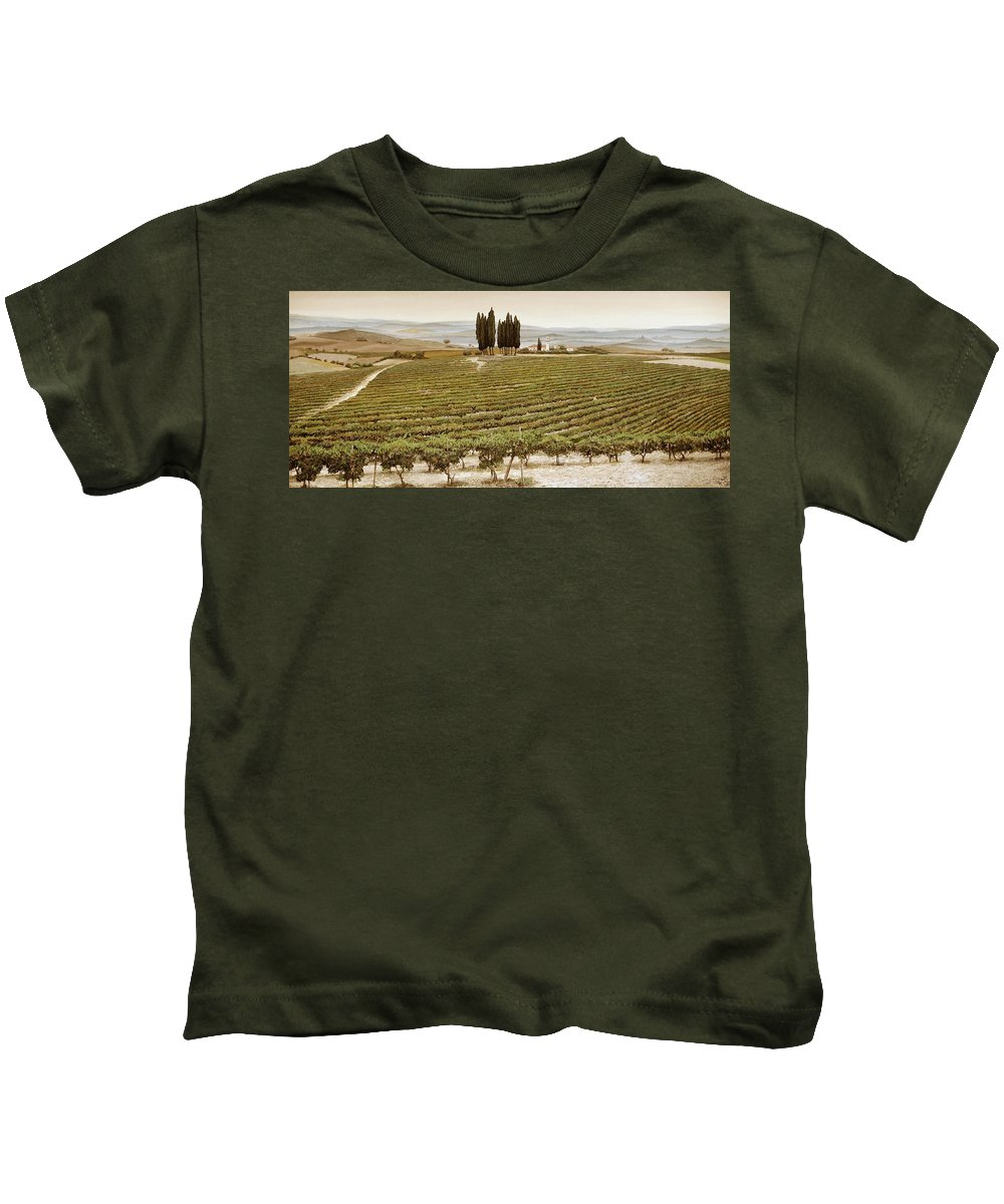 Tuscan; Italian Landscape; Rural; ; Vines; Wine; Viticulture; Countryside; Rural; Tuscany; Italy; Vineyard Kids T-Shirt featuring the painting Tree Circle - Tuscany by Trevor Neal