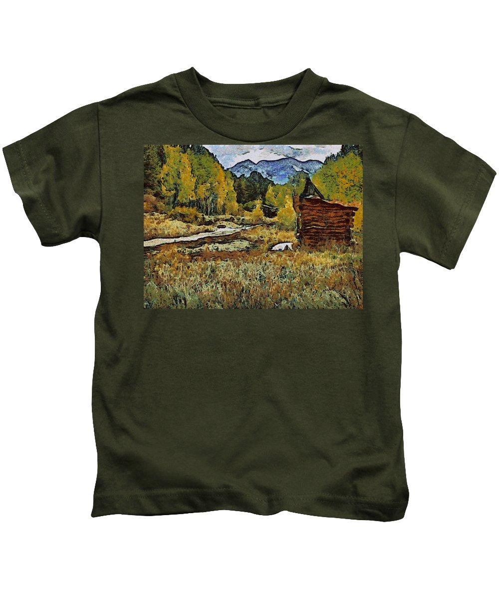 Turrett Kids T-Shirt featuring the digital art Turrett - Homage Vangogh by Charles Muhle