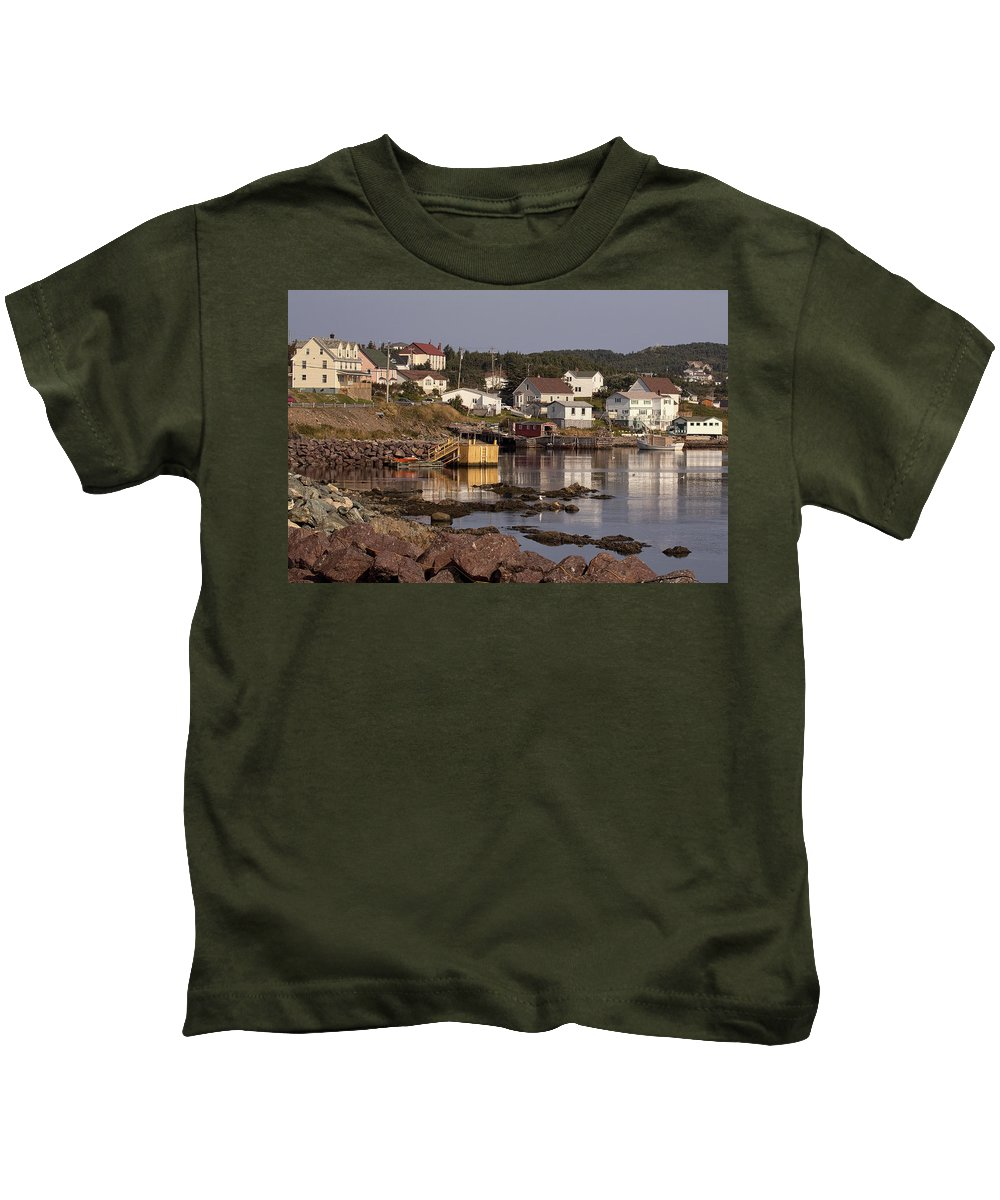 Newfoundland Twillingate Harbor Harbour Water Port Village fishing Village Landscape Kids T-Shirt featuring the photograph Twillingate by Eunice Gibb