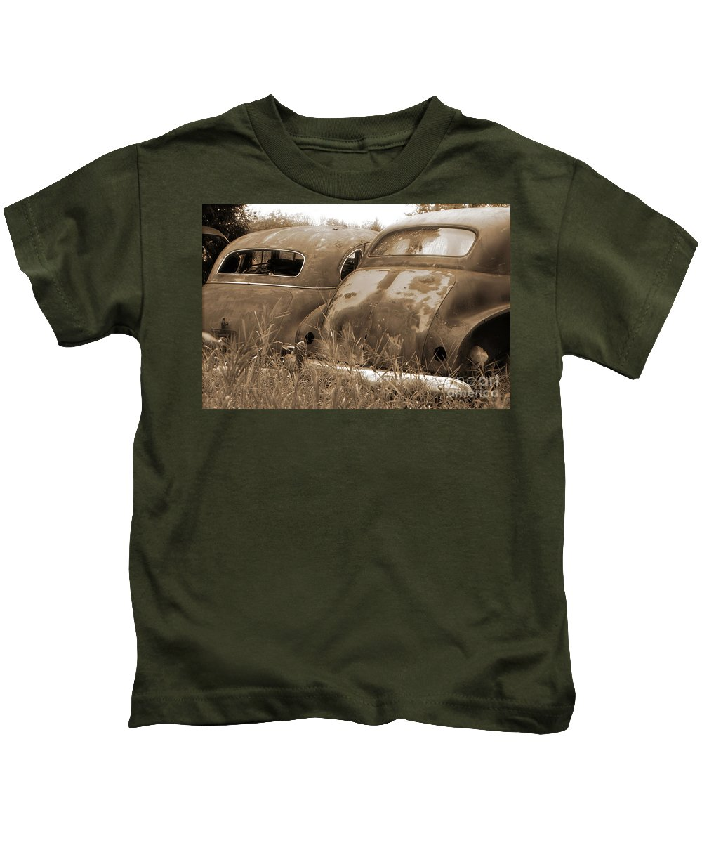 Cars Kids T-Shirt featuring the photograph Two Old Rear Ends-sepia by Randy Harris