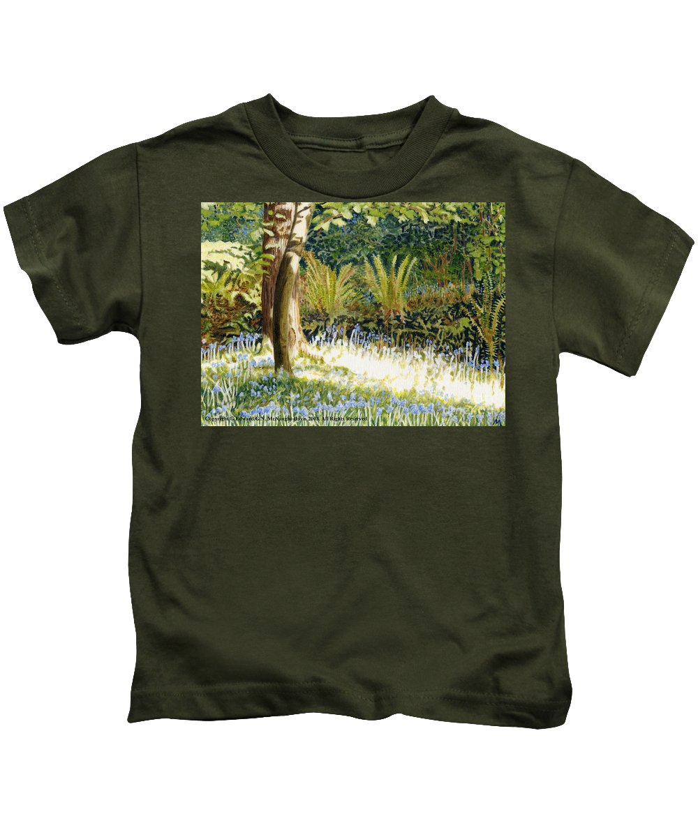 Sunlit Bluebells Kids T-Shirt featuring the painting Sunlit Bluebells Llanina Ceredigion by Edward McNaught-Davis