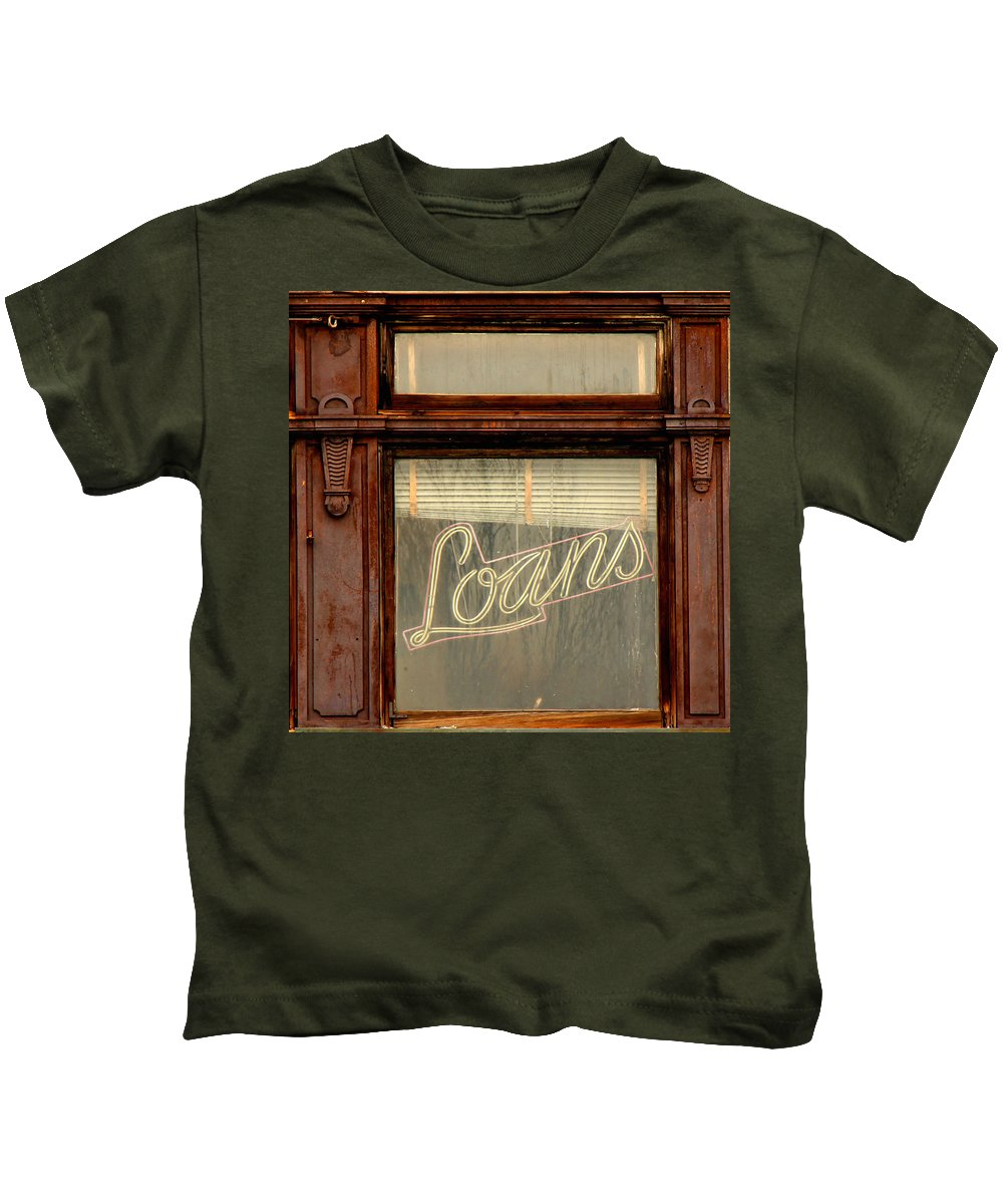 Vintage Sign Kids T-Shirt featuring the photograph Vintage Bank Sign by Andrew Fare
