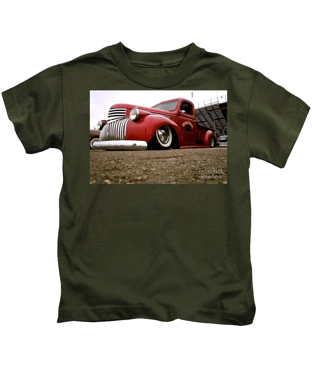 Vintage Kids T-Shirt featuring the photograph Vintage Style Hot Rod Truck by Customikes Fun Photography and Film Aka K Mikael Wallin