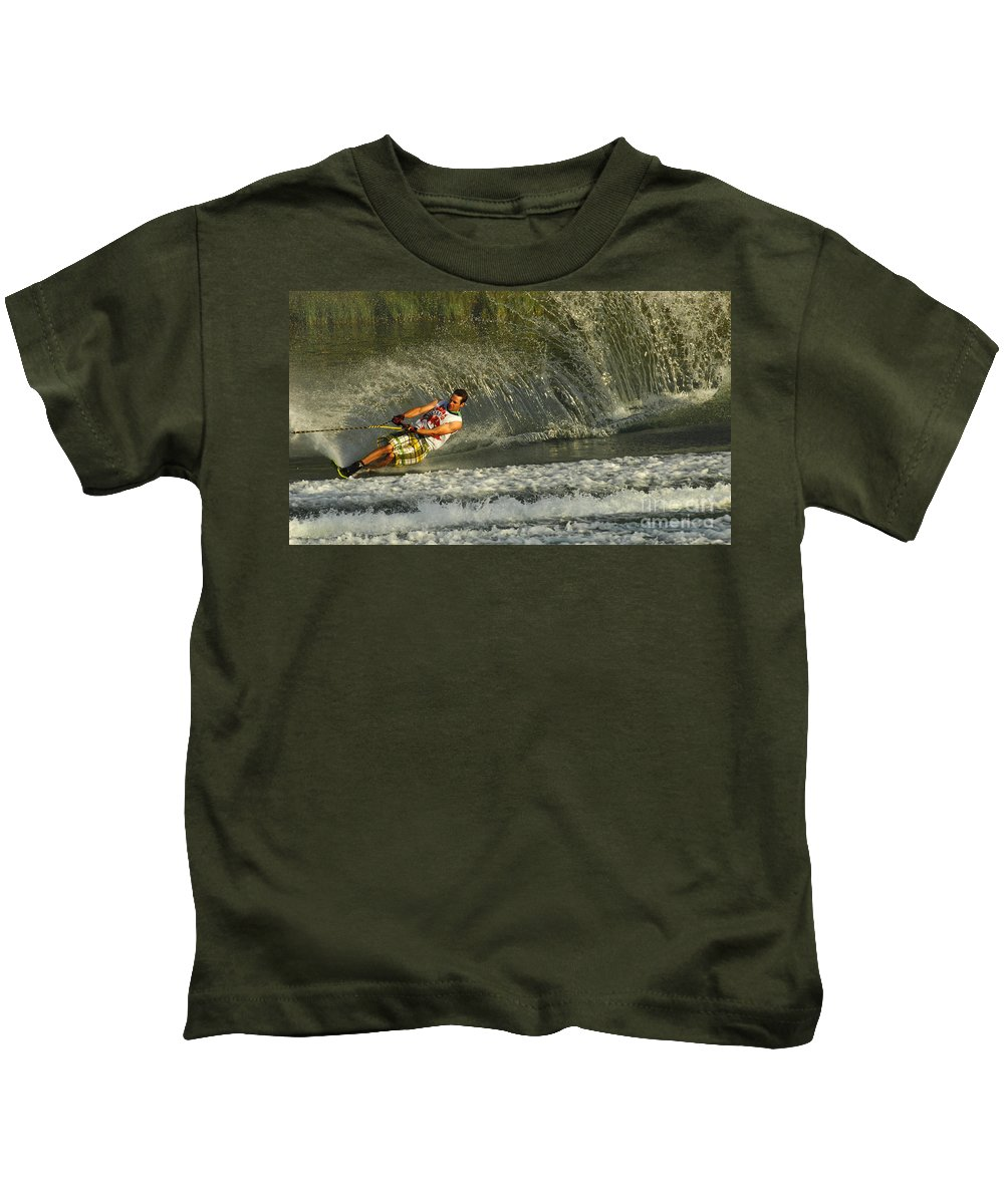 Water Skiing Kids T-Shirt featuring the photograph Water Skiing Magic Of Water 8 by Bob Christopher