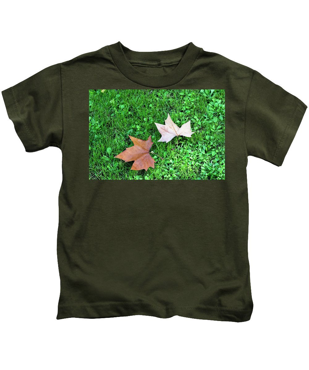 Wet Leaves Kids T-Shirt featuring the photograph Wet Leaves On Grass by Lorraine Devon Wilke