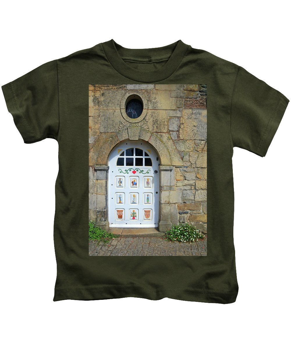 White Door Kids T-Shirt featuring the photograph White Door Provence France by Dave Mills