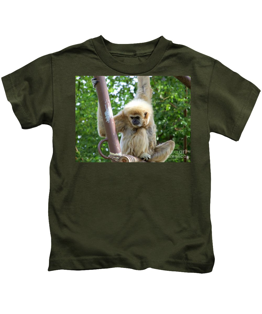 Monkeys Kids T-Shirt featuring the photograph White Handed Gibbon by Mary Deal