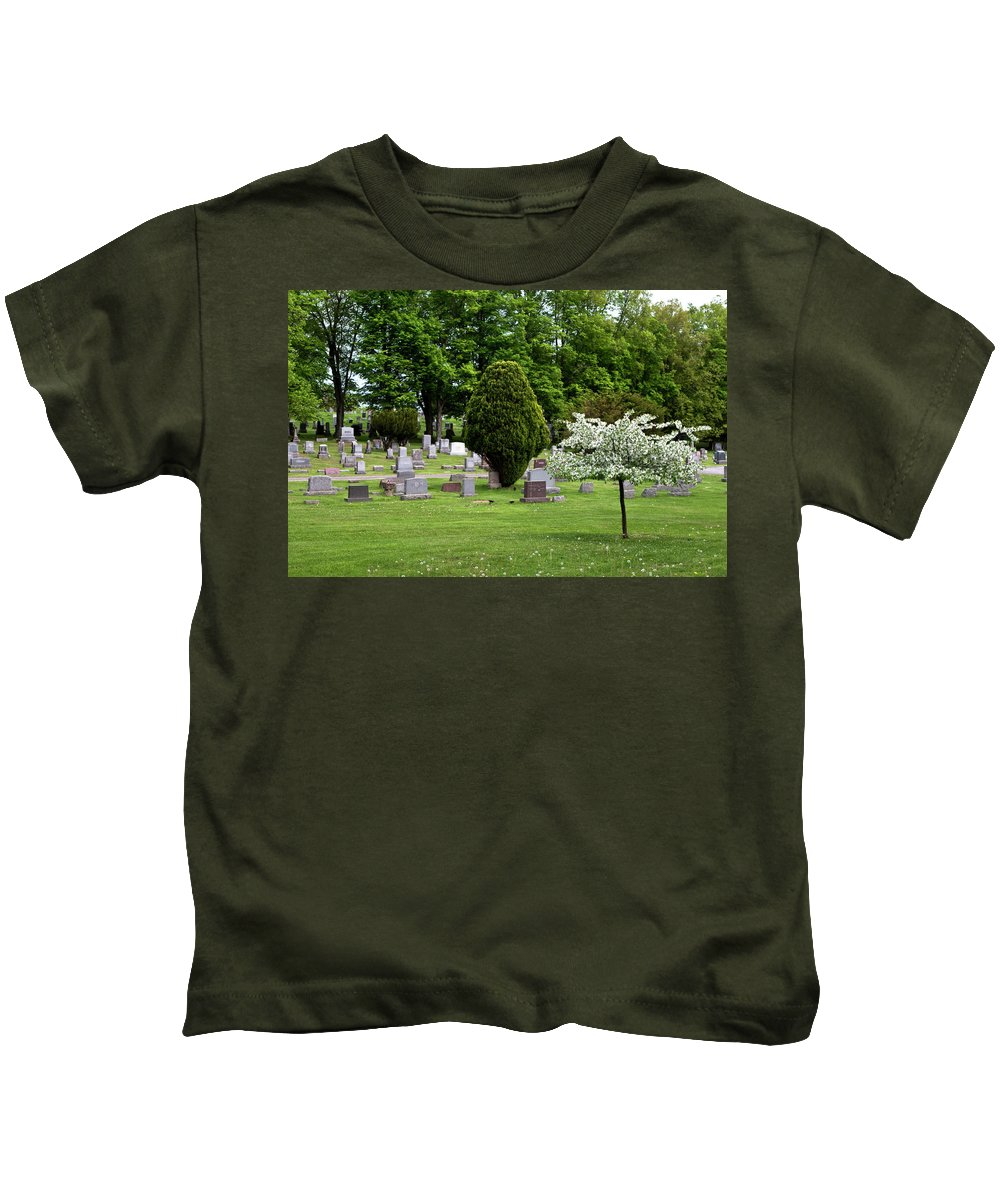 White Flowering Tree Kids T-Shirt featuring the photograph White Tree In Cemetery by Lorraine Devon Wilke