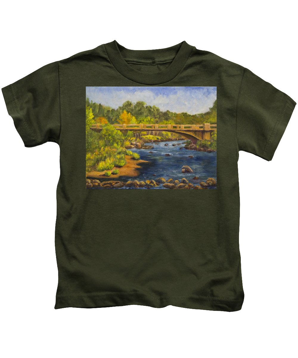 Landscape Kids T-Shirt featuring the painting Whitney Crossing by Jo-Anne Gazo-McKim