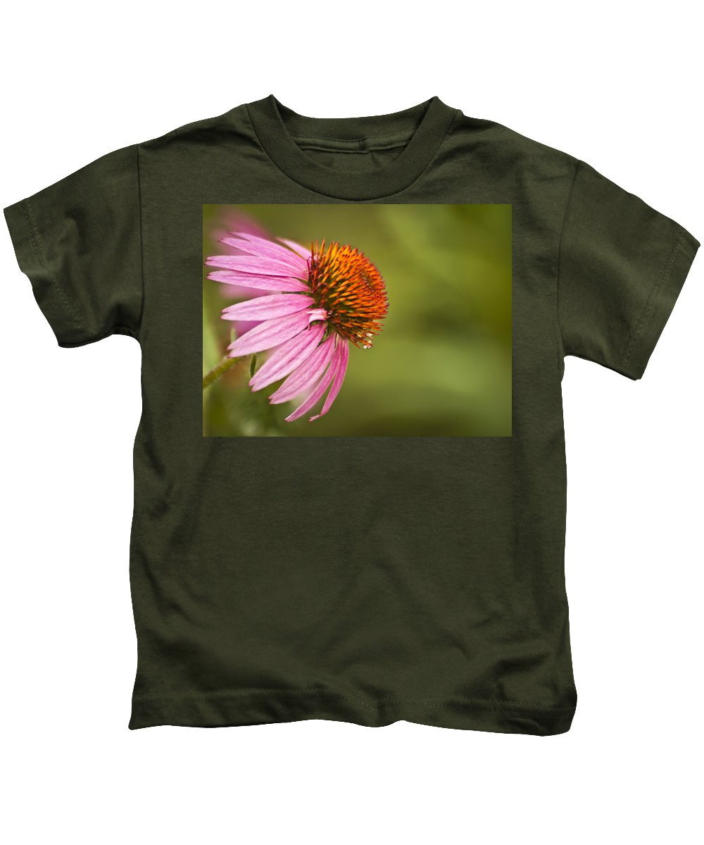 Coneflower Kids T-Shirt featuring the photograph Wildflower Dew Drops by Carolyn Marshall