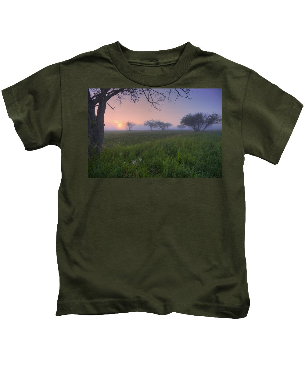 Calm Kids T-Shirt featuring the photograph Wildflowers On A Foggy Pasture by Dan Jurak