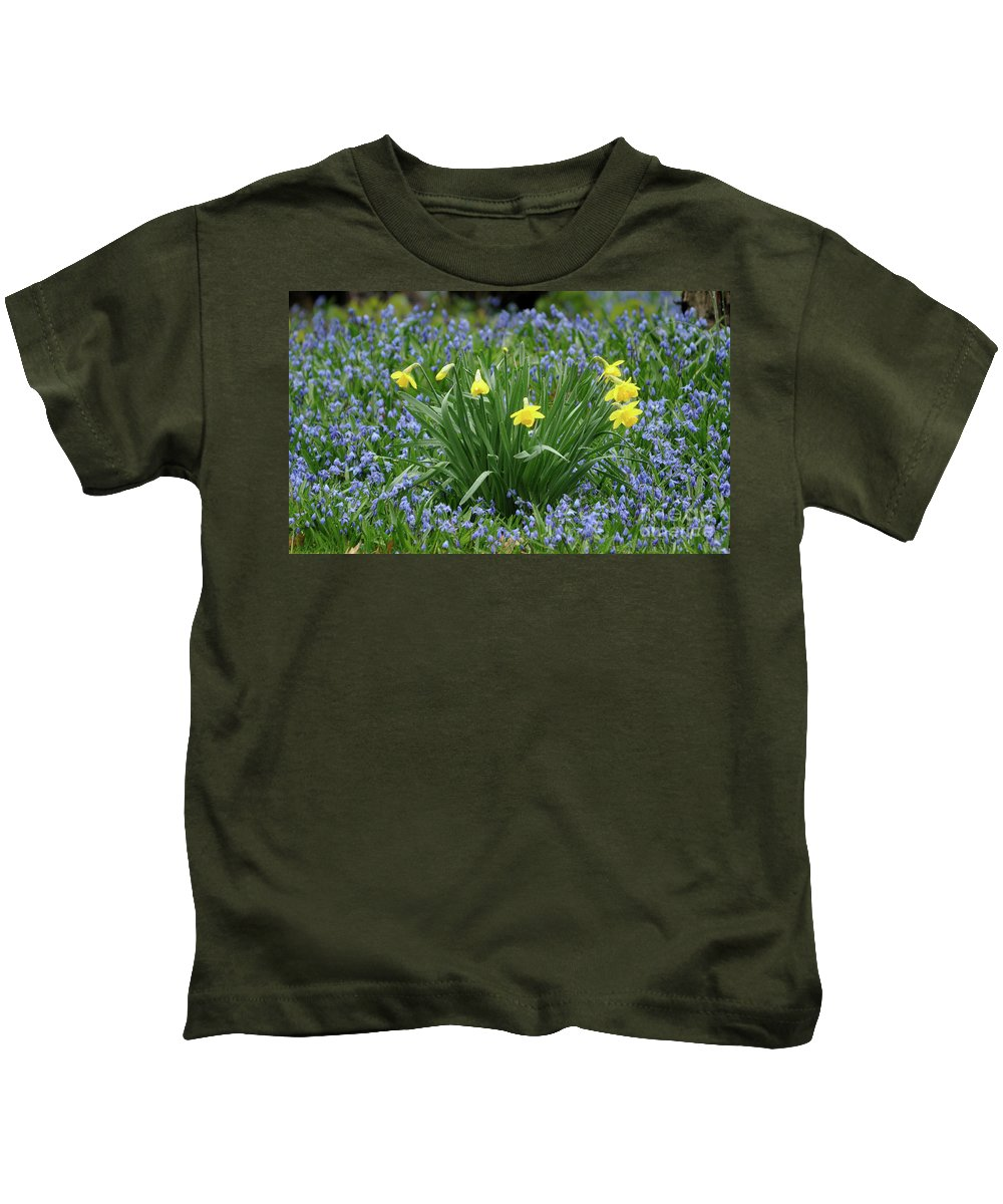 Green Kids T-Shirt featuring the photograph Yellow And Blue Flowers by Ronald Grogan