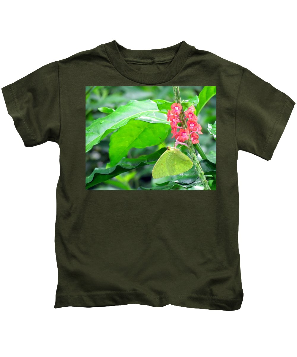 Nature Kids T-Shirt featuring the photograph Yellow Sulphur On Porterweed by Judy Wanamaker