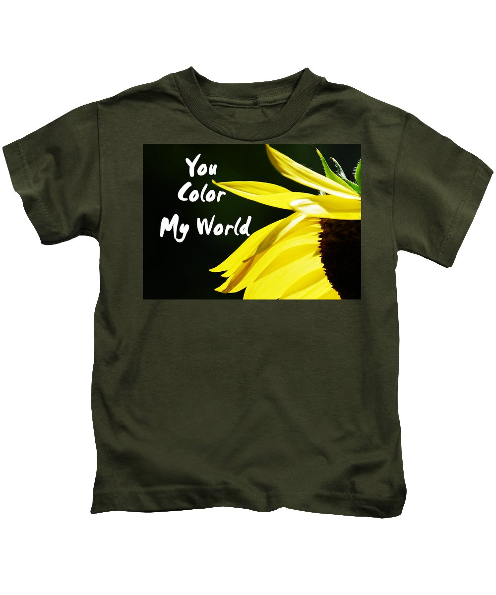 Card Kids T-Shirt featuring the photograph You Color My World by Judy Hall-Folde